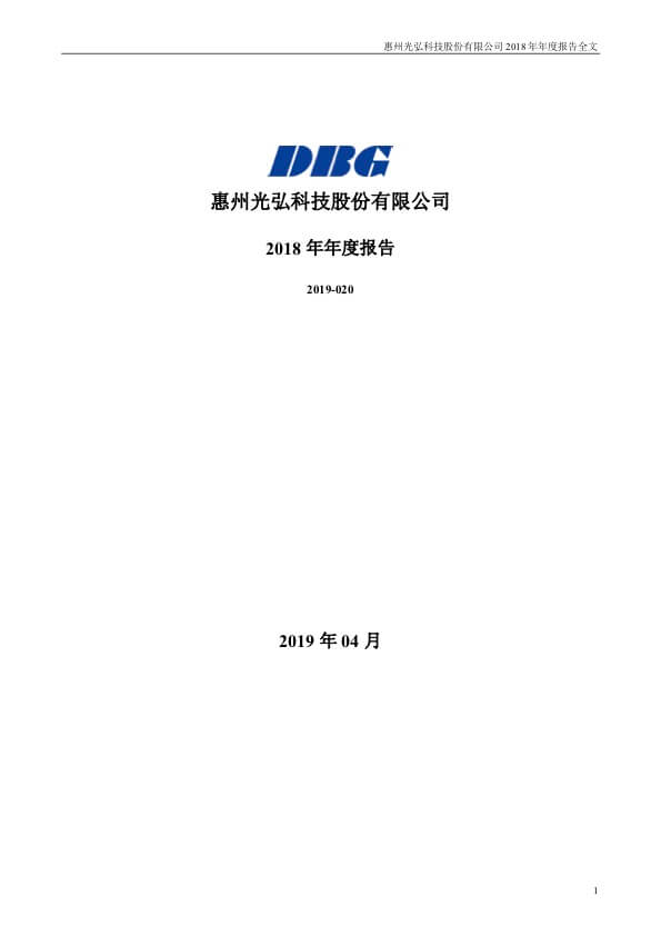 dbg annual report 2019 - Investor Relations
